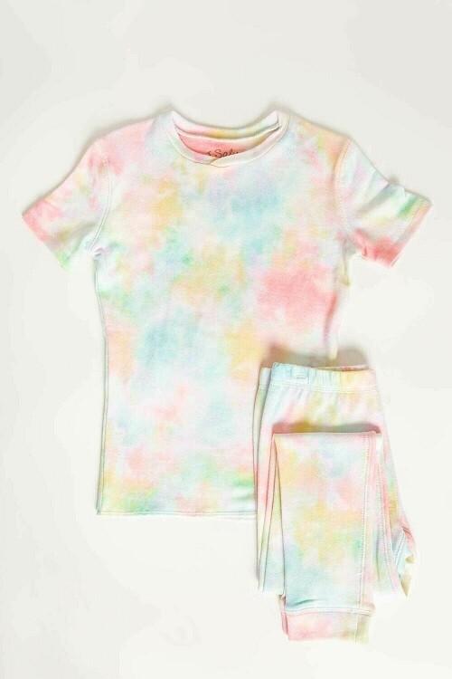 PJ Salvage Spring Pastel Tye Dye Children's Pajama Set Size 2, 4, 5, 6