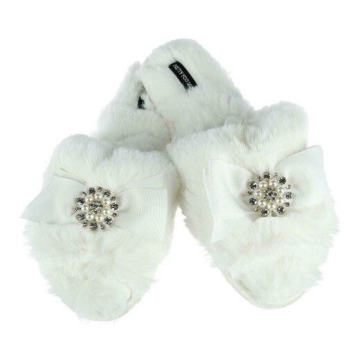 Women's White Slide Rhinestone Luxe Slipper -Size 6.5/7.5     Only 1 left