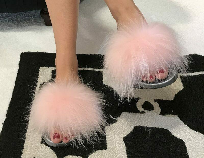 Pink Fur Slipper Slides with Grey Foam Base