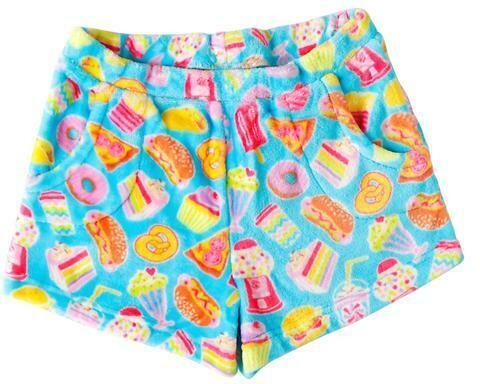 Aqua Blue Junk Food Fleece Shorts Size 10/12, 14/16