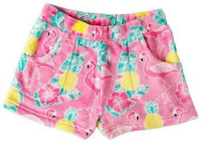 Pink Flamingo Fleece Shorts Size 7/8