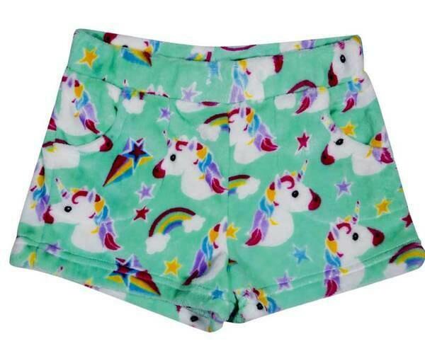 Green Unicorn Fleece Shorts Size 7/8, 10/12