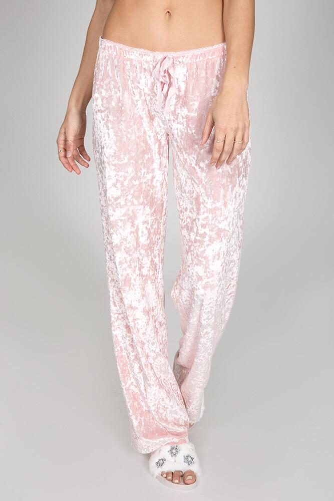 PJ Salvage Crushin It Pink Velvet Pant Size XL