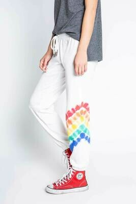 PJ Salvage Luv Rules Ivory Tie Dye Banded Jogger Pants  Size L Only 1 left