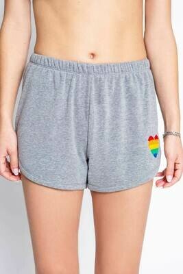 PJ Salvage Grey Rainbow Heart PJ Shorts   Size S thru XL