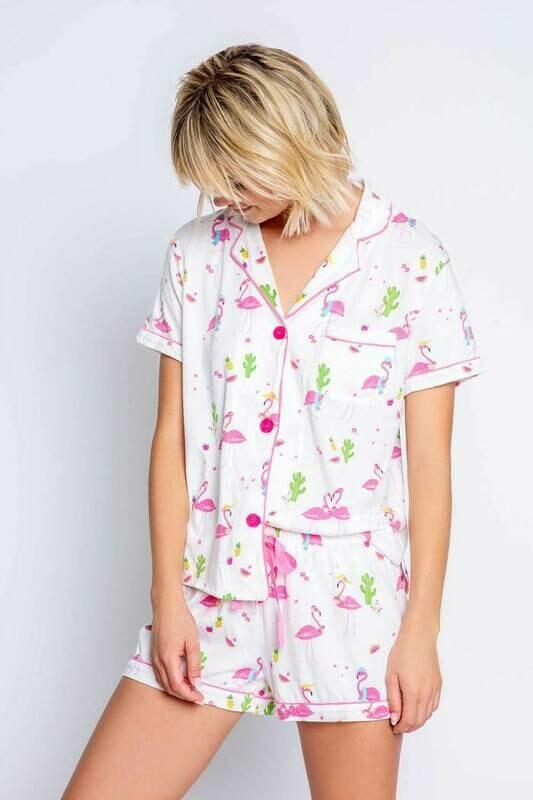 Pj Salvage Flamingos and Free Sleep Mask PJ Set   Size XS to XL