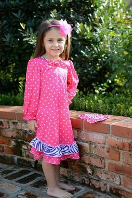 Laura Dare Pink Polka Dot Nightgown  Size 2