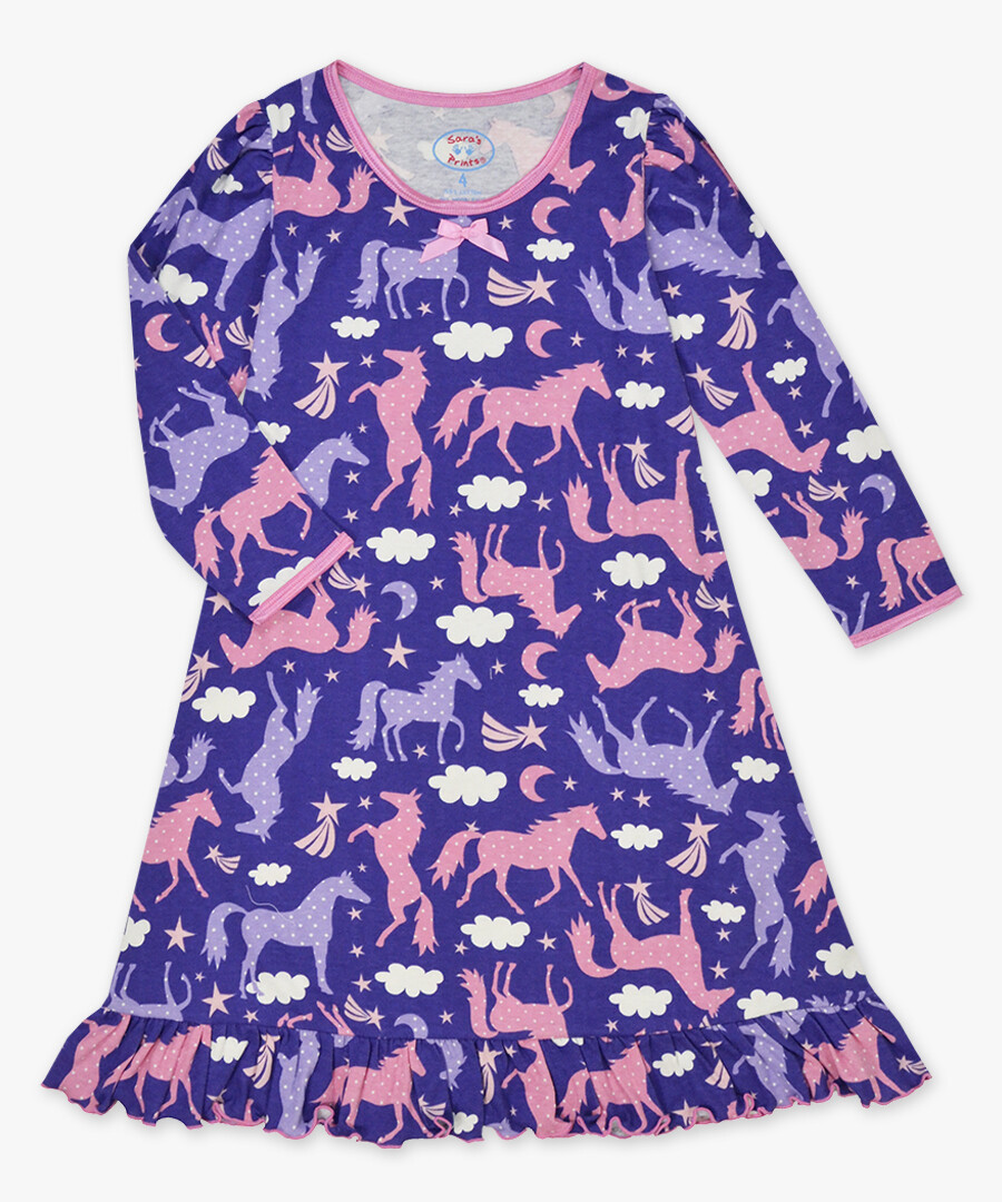 Saras Prints Super Soft Purple Horse Nightgown Size 2 Only 1 left