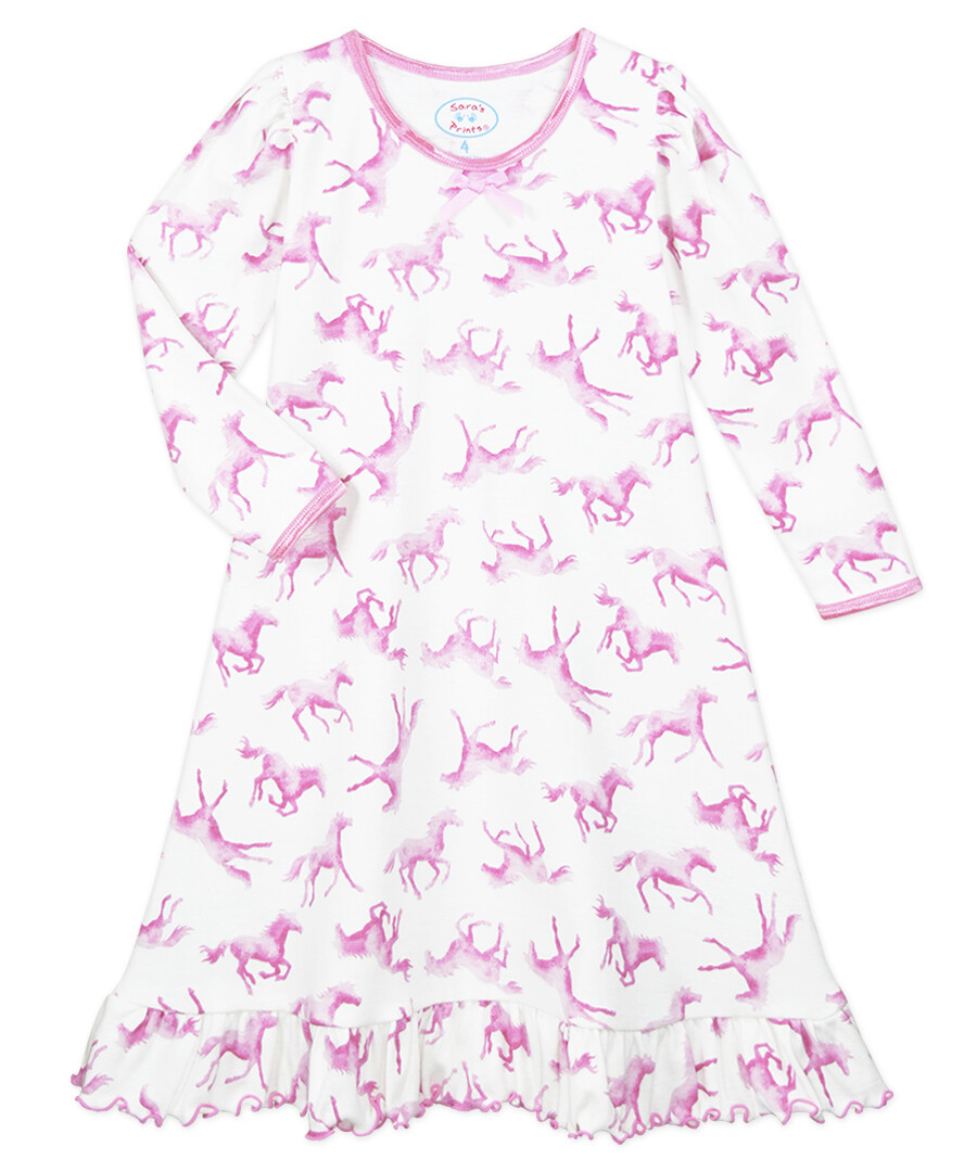 Saras Prints Super Soft Pink Horse Nightgown Size 2   Only 2 left