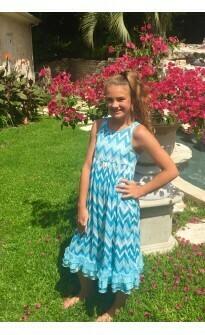 Laura Dare Blue Chevron Nightgown  Size 2, 4