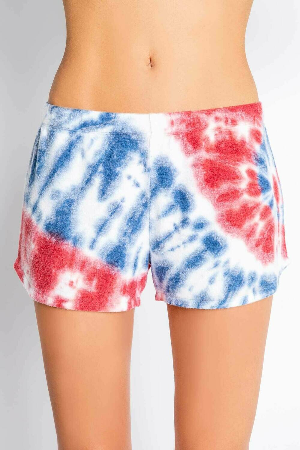PJ Salvage Red White Blue Tie Dye Draw String PJ Short Size S-XL
