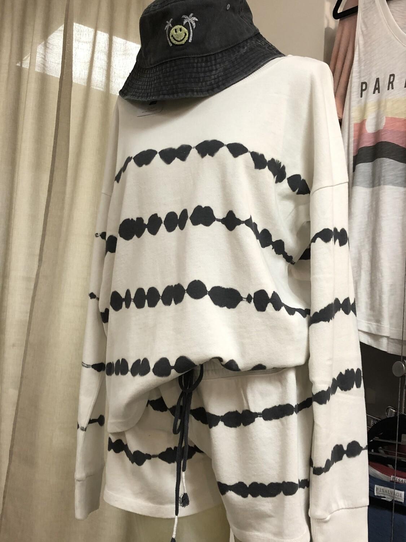 PJ Salvage Grey Tie Dye on Ivory Long Sleeve Year Round PJ Top