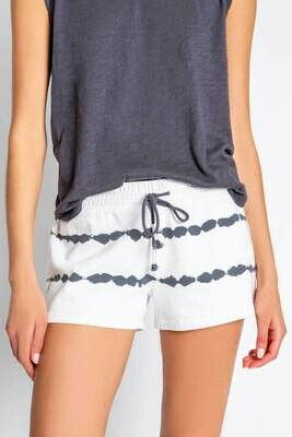PJ Salvage Grey Tie Dye on Ivory  PJ Lounge Shorts