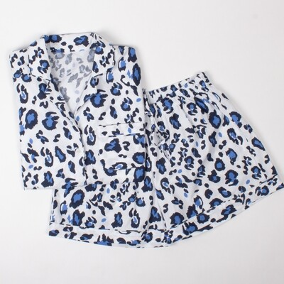 Blue Leopard Pajama Cotton Pajama Lounge Short Set