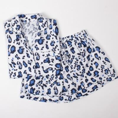 Blue Leopard Print Pajama Cotton Pajama Lounge Short Set  Size   1 Medium left