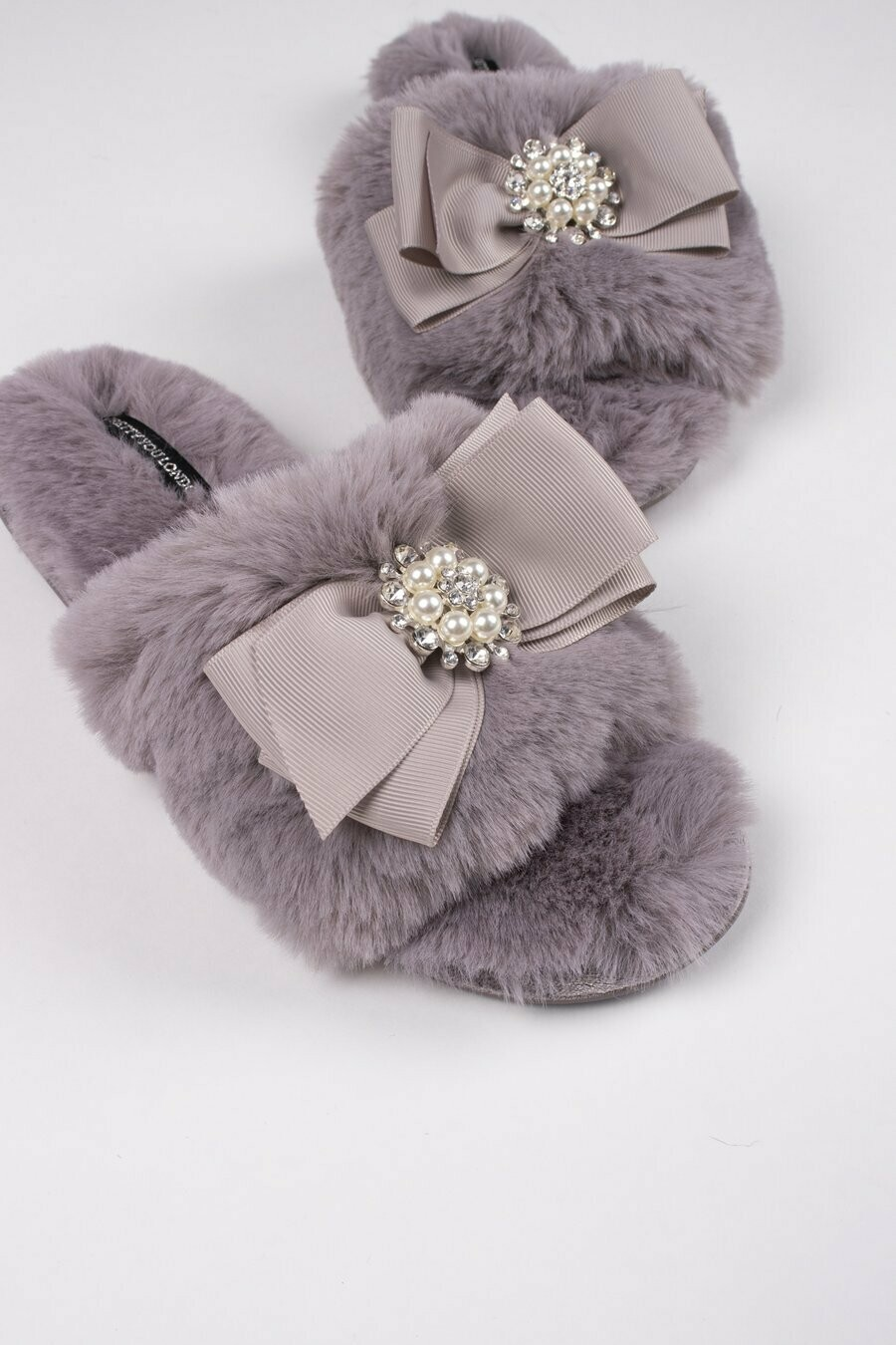 Women's Mink Color Slide Rhinestone Luxe Slipper -Size 8/9
