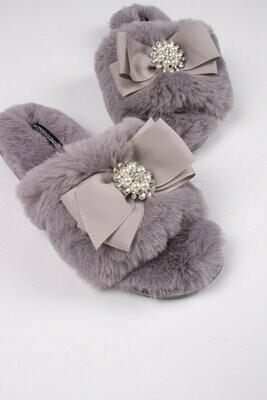 Women's Mink Color Slide Rhinestone Luxe Slipper -Size 8/9