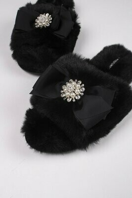 Women's Black Slide Rhinestone Luxe Slipper -Size 6.5-7.5