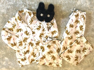 Leopards and Rose All Day Pajama Cotton Pajama Lounge Short Set