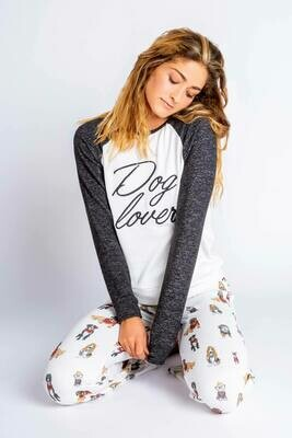 PJ Salvage Hip Hound Ivory Dog Lover Pajama Lounge Shirt Size S, M