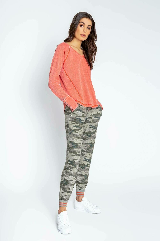 PJ Salvage Olive Command Mango Pajama Lounge Shirt Size L, XL