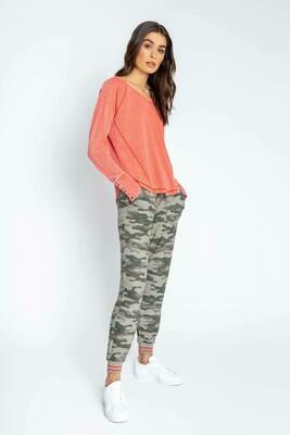 PJ Salvage Olive Command Mango Pajama Lounge Shirt Size M, L, XL