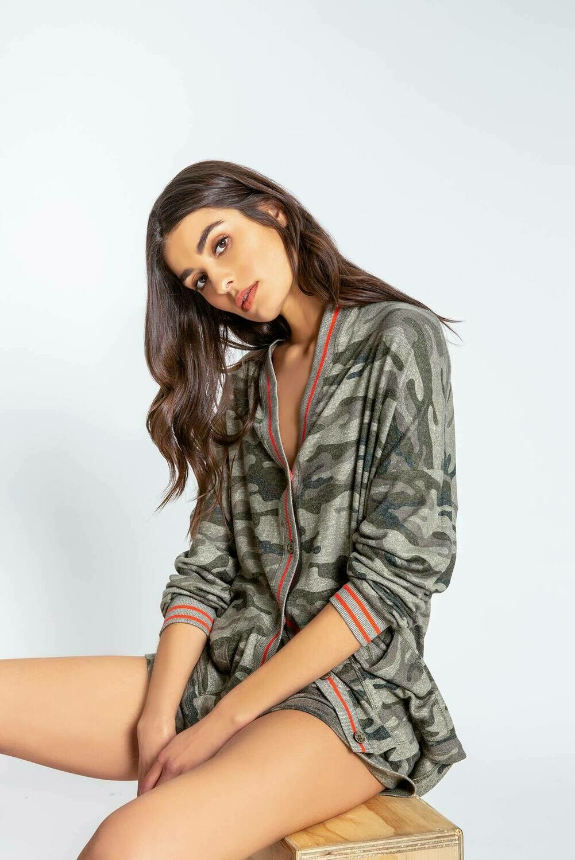 PJ Salvage Olive Command Camo Cardigan Pajama Lounge Shirt