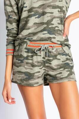 PJ Salvage Olive Command Camo Pajama Lounge Short