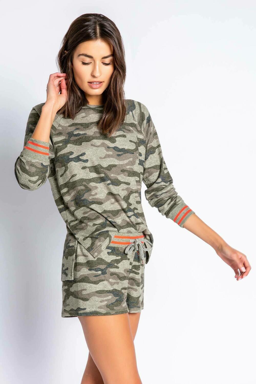 PJ Salvage Olive Command Camo Pajama Lounge Shirt