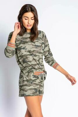 PJ Salvage Olive Command Camo Pajama Lounge Shirt