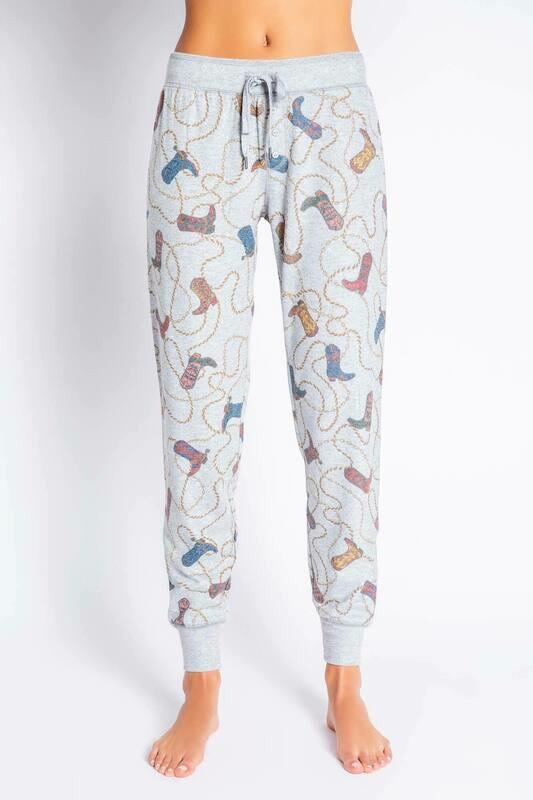 PJ Salvage Grey Cowboy Western Boots & Bonfires Pajama Lounge Pants