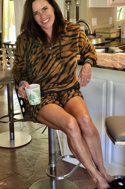 PJ Salvage Camel Tiger Pajama Cozy PJ Lounge Hoodie