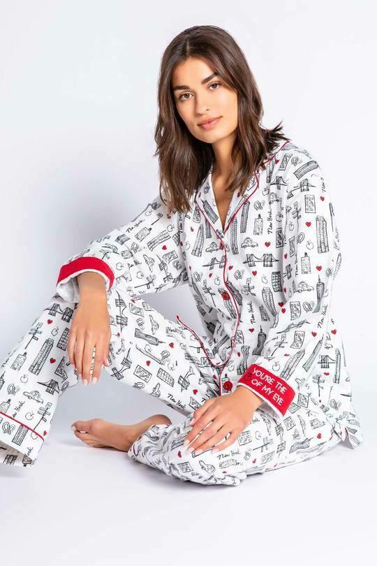 PJ Salvage New York Flannel PJ Pajama Lounge Set Size XS