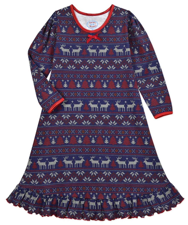 Saras Prints Super Soft Navy Fair Isle Holiday PJ Nightgown
