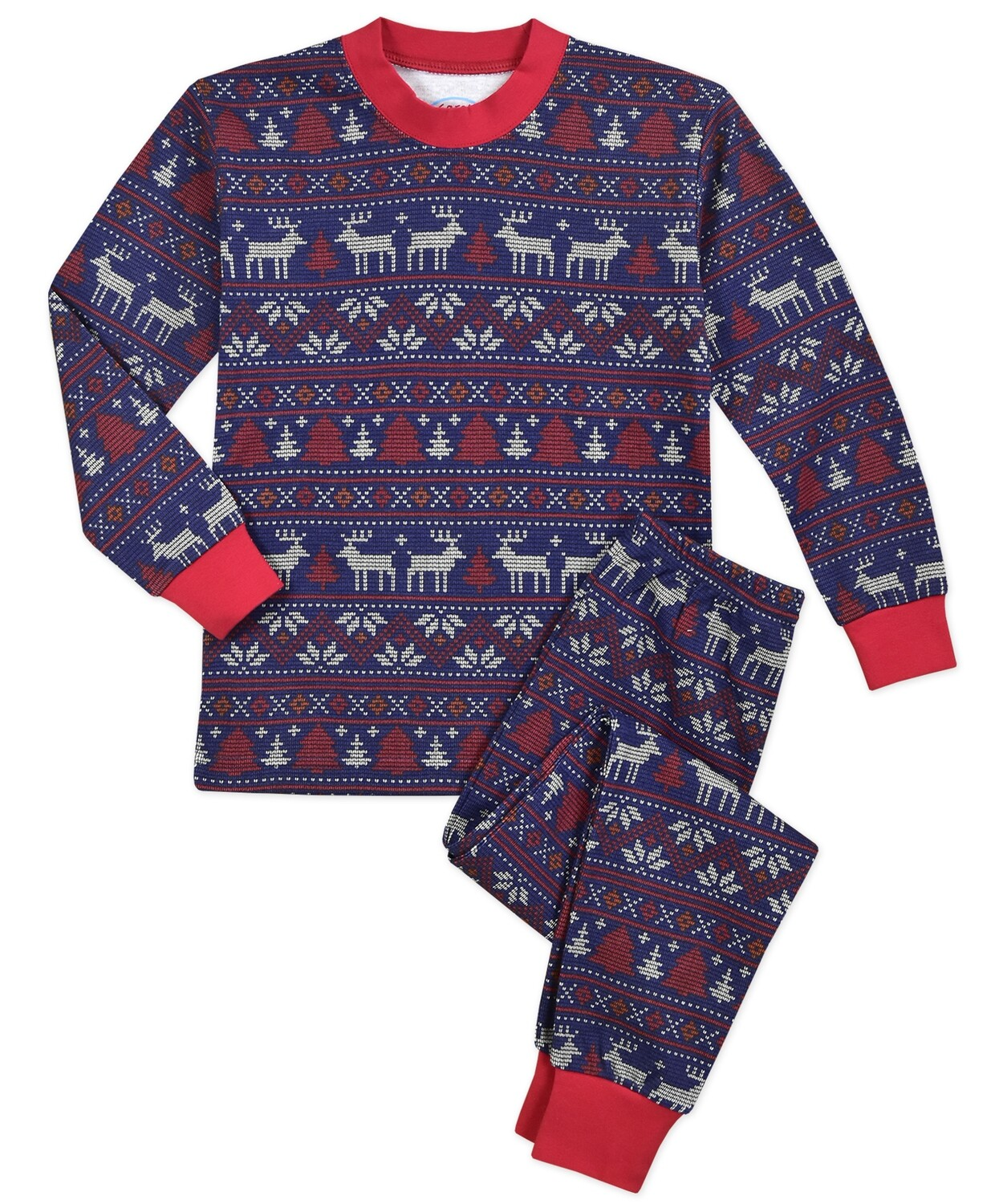 Saras Prints Super Soft Navy Fair Isle Holiday Unisex Pajama Set