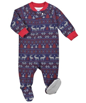 Saras Prints Super Soft Navy Fair Isle Holiday Pajama Onesie