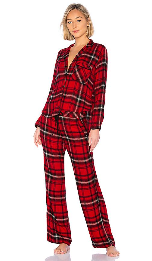 Red and Black Plaid Long Sleeve Pajama Pant PJ Set