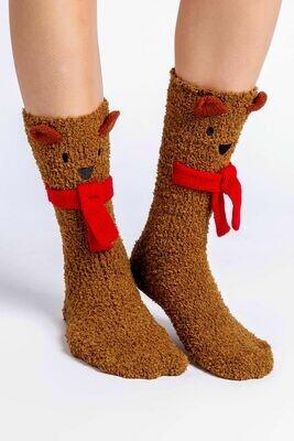 Fun NonSlip Brown Animal Socks