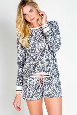 PJ Salvage Leopard & Pink Trim Pajama Lounge Top  Size XS, XL