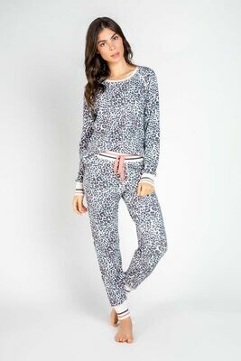 PJ Salvage Leopard Print & Pink Trim Pajama PJ Jogger Pant  Size   L, XL