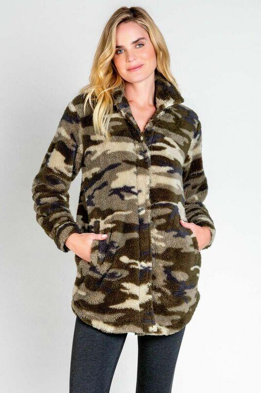 PJ Salvage Cozy Camo Lounge Jacket Size S, M, L, XL