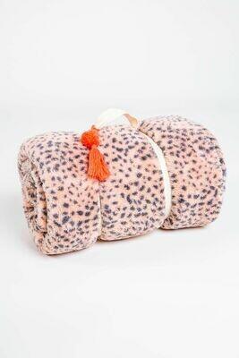 PJ Salvage Cozy Pink Leopard Blanket