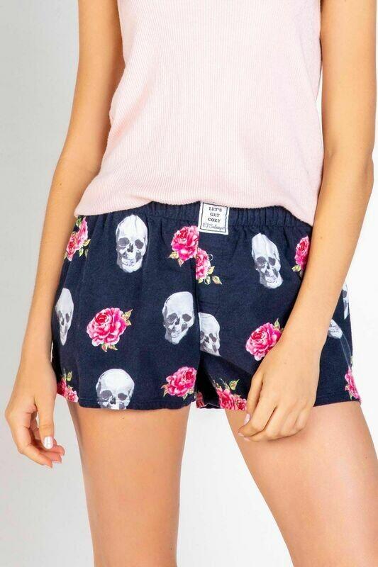 PJ Salvage Navy Skull and Roses Soft Cotton Twill Pajama Short