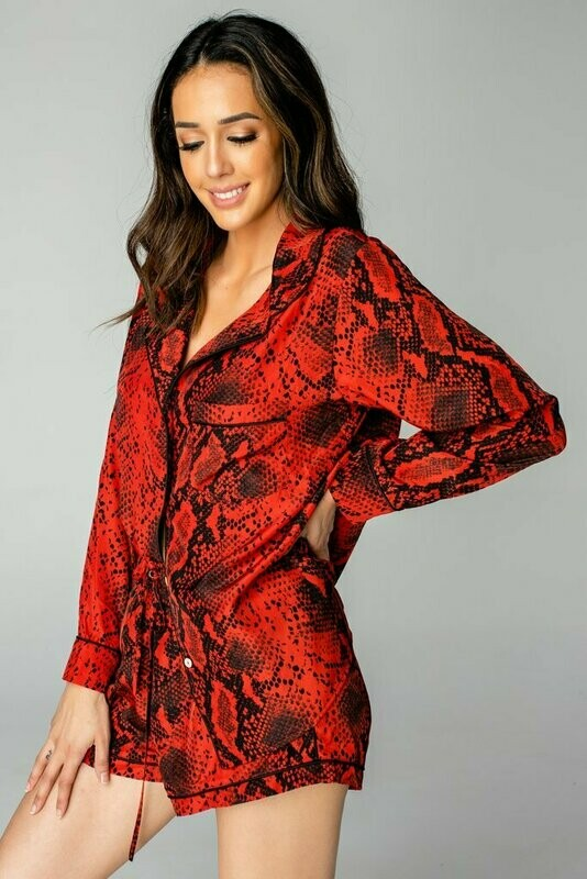 Red Snake Print Button Down Pajama Short Set  Size M   2 left