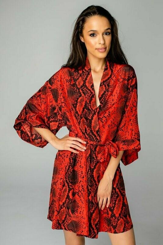 Red Snake Print Kimona Robe Style