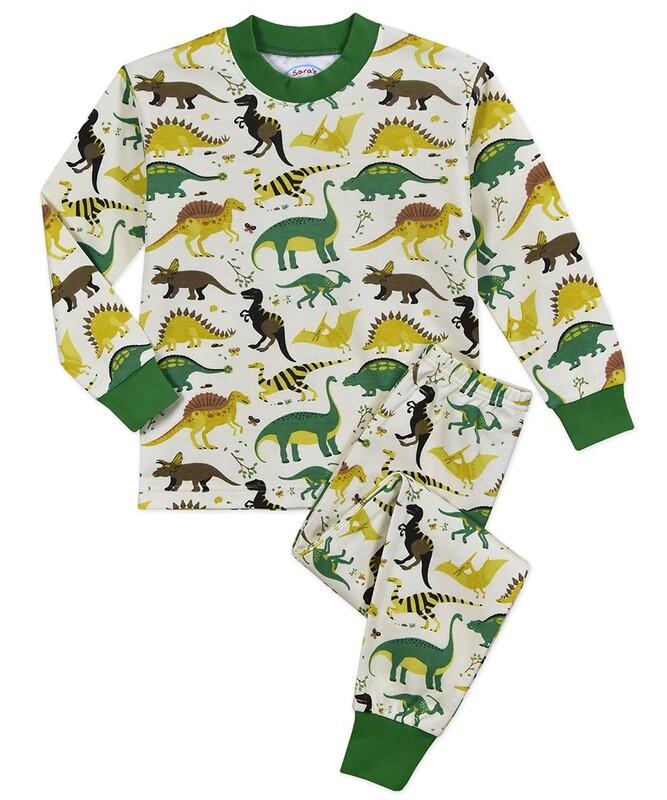 Saras Prints Super Soft Dinosaur Pajama Set Size 3-8