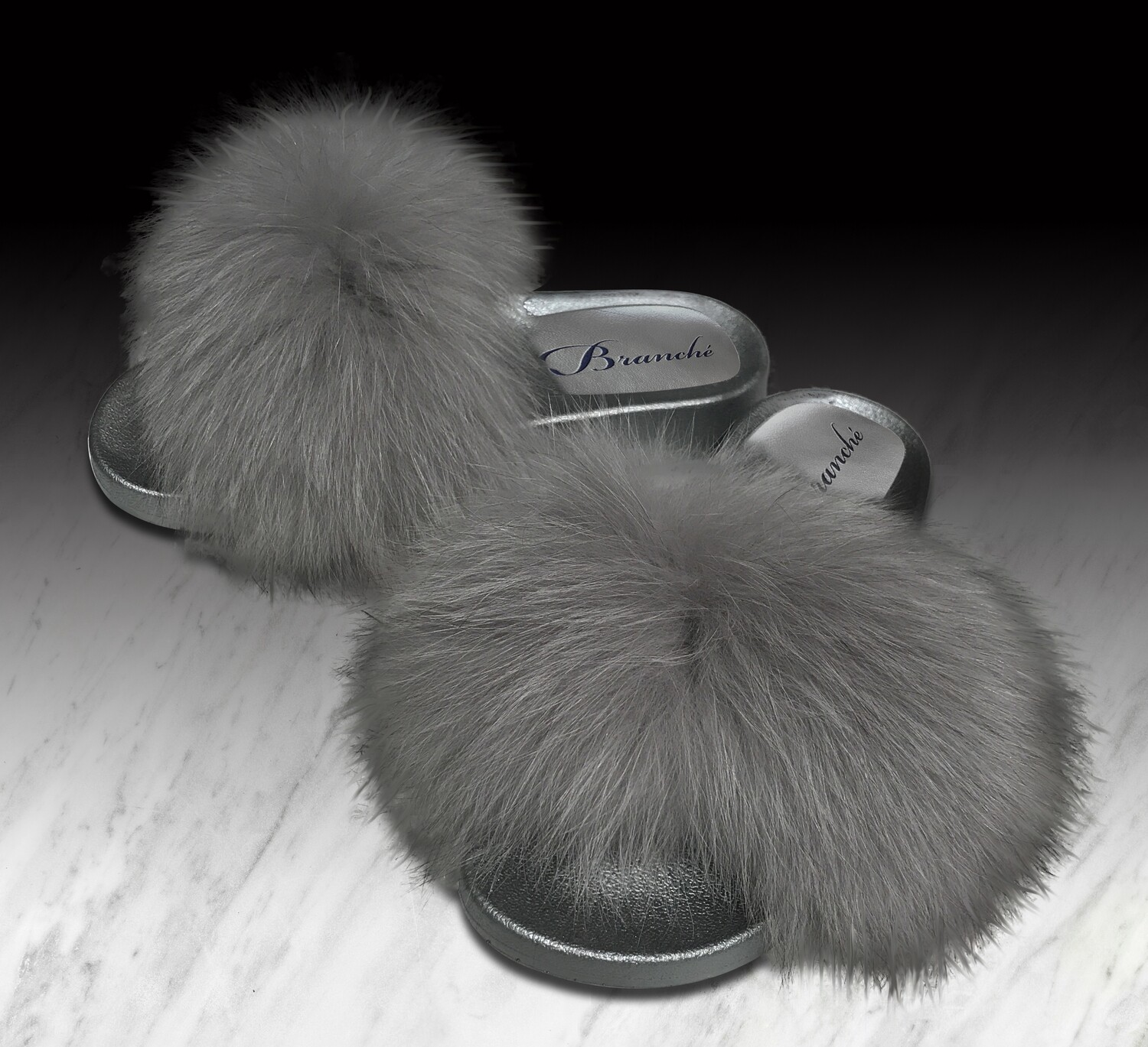 Grey Fluffiness Slipper Slides with Grey Foam Base