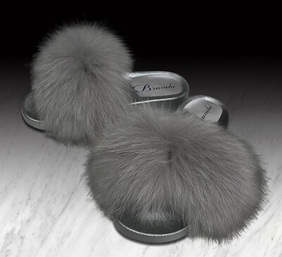 Grey Fluffiness Slipper Slides with Grey Foam Base