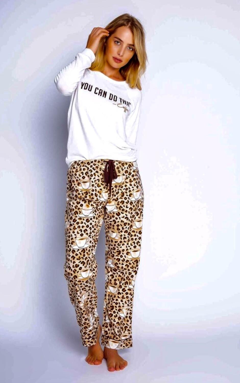 PJ Salvage Leopard Coffee Time Soft Cotton Twill Pajama PJ Pant