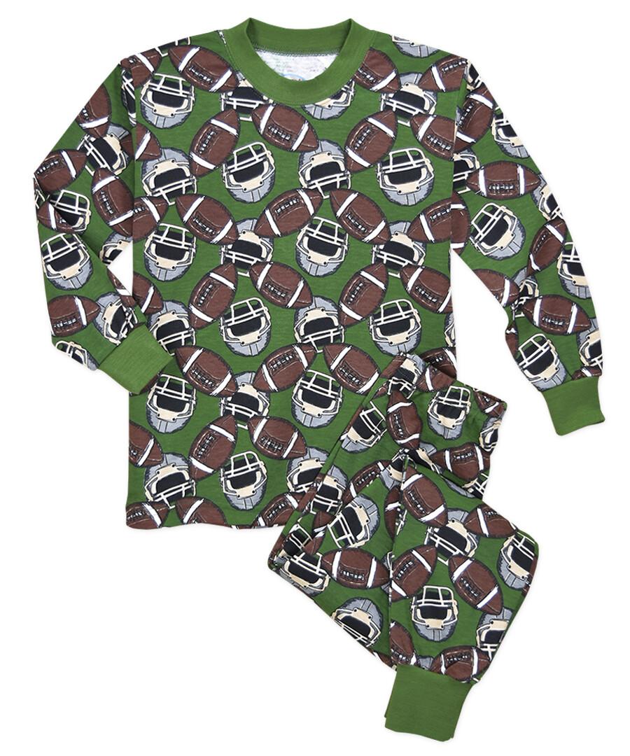Saras Prints Super Soft Football PJ Pajama Set Size 2, 2 left